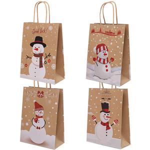 Weihnachten Kraft Papier Verpackung Beutel Frohe Weihnachten Goodie Taschen DIY Geschenk Schneemann Printed Tragbare Papiertüte mit Griff DWC2914