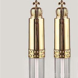 Luxury Lipstick Tube Liquid Chapstick Tubes Empty Lip Gloss Containers Transparent Plastic Gold Lid Crown Crown Long Strip 2 55sw D2