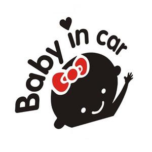 Disegno del fumetto di riflessione Car Sticker Cute Girl modello Nero Bianco Decal neri non riflettente Bambino in automobile Attenzione Adesivi 0 78sc L2