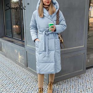 Simplee casuais luz mulheres inverno azul de outono parkas Tempo quente com capuz manga comprida jaqueta feminina High street jaquetas 2020