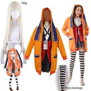 Yomoduki Runa Cosplay Costume Kakegurui Jogador Compulsivo Runa Cosplay Peruca e Laranja Jaqueta Hooded JK Uniforms1