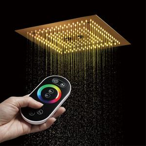 골드 샤워 핸드 솔질 16 인치 광장 미스트 SPA LED 욕실 샤워 강수량있는 샤워기을 (304) 스테인레스 스틸 패널