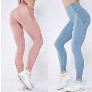 2020 New Women Sport Leggings Yoga Pants With Pockets Jogging Workout Running Leggings Stretch High Elastic Gym Tights Women Legging