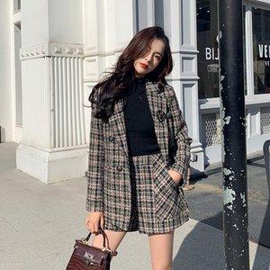 CBAFU sonbahar kış yüksek kaliteli kadın 2 adet kruvaze ceket ekose yün kısa seti P730 201.007 set şort takım elbise tüvit blazer