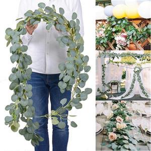 Contexto de la boda densa hoja artificial eucalipto Garland imitación de seda hojas de eucalipto Vine Garland Verde arco decoración de la pared OWC2873
