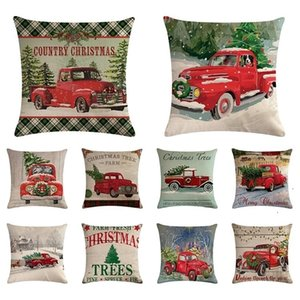NEW 100pcs Christmas decorations red pickup truck Christmas tree series Pillow Case cushion cover household goods 45 * 45cm T500450
