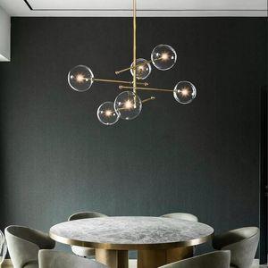 Hot EMS 2020 modern design glass ball chandelier 6 heads clear glass bubble lamp chandelier for living room kitchen black gold light fixture