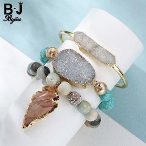 BOJIU 3pcs Set women's Jewelry Laddy's Beaded Bracelet Leaves Pendant With Natural stone Women's gift BCSET36