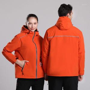 Мужчины Женщины Зимние Куртки на открытом воздухе Светоотражающая ветровка Водонепроницаемый пальто с капюшоном с теплым флисом для катания на лыжах