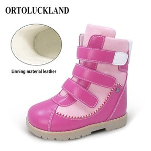 ORTOLUCKLAND Bottes en cuir enfants Bottes orthopédiques Girls Bottes d'hiver pour enfants Boys Black Orthotic orthotique pour tout-petit