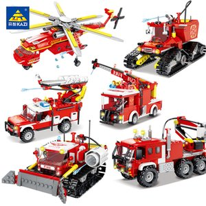 KAZI City Fire Rescue Series Building Blocks Firefight Plane Forest Fire Truck Fireman Figures Educational Toy For Children Gift