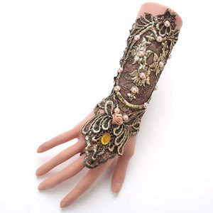 Exaggerated Hand Dressing Gold Lace Pearl Gloves Ladies' Swordsman Arms Strap