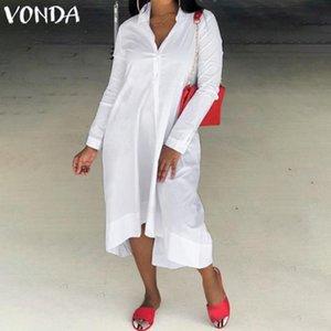 Casual Dresses VONDA Black Dress 2021 Women Sexy Long Sleeve Party Autumn Office Ladies Sundress Beach Vestidos Robe Plus Size