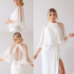 New White Ivory Short Tulle Wraps Feather Top Bridal Bolero O Neck Custom Made Shawl Jackets