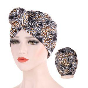 2019 trendy leopard turban cap donut animal print muslim headdress Inner caps for hijab femme musulman hijab underscarf bonnet