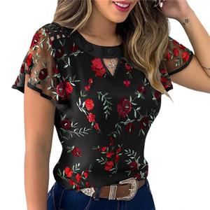 4 styles sexy women's steering wheel sleeve high neck cardigan ceramic embroidery print flower shirt ol loose silk mousse dress T-shirt