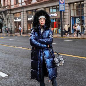 Новые женщины длинные пальто ветровки Женский глянцевый зима теплая сгущает искусственного меха Пальто Silver пуховик Parker жакет 201026