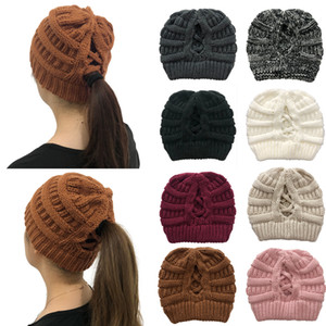 Party Gifts Fashion Knitted Hats Lady Ponytail Knitted Hat Back Cross Ppening to Keep Warm Ladies Woolen Hat XD24066