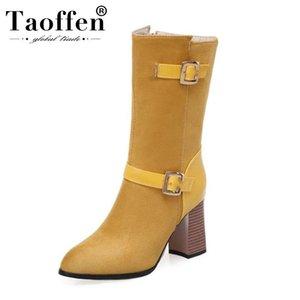 Taoffen 4 Farbe plus Größe 33-50 Buckle Zipper Fashion Kurze Stiefel-Absatz-Schuhe Frauen-Partei-Winter-warme Stiefel Schuhe