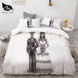 Rêve NS Crâne Noir Blanc Motif style Literie Queen Size Quilt Housse de couette Sets Polyester Linge de lit New 9xcQ # Litières
