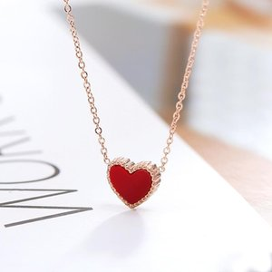 Cute Rose Gold Color Necklace Women Fashion Collier Tiny Red Heart Pendant Necklace for Girlfriend Best Gift Colar Anti Allergy