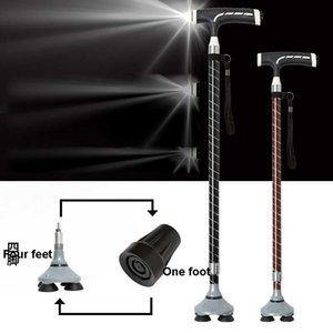 Smart Cane с лампой Телескопический старик не скольжения регулируемые палочки пожилые алюминиевые сплава T-ручка Четыре фута, пешеходные палочки 201113