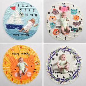 Baby Milestone Decke Brief Blumen-Druck Kreative weiche Newborn Wrap Swaddling Mode Baby Milestone Decken Fotografie Kulissen WY957