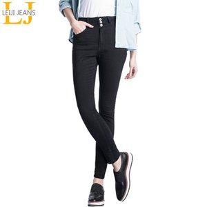 2020 pulsante LEIJIJEANS vita alta mosca Size nero Figura intera Plus per donne Stretch jeans skinny Matita 1017