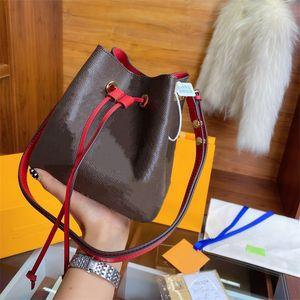 2020 Mujeres NEONOE MM Bolsa de hombro Moda NEONOE cubo 100% cuero real del ajuste bolsa Originales calidad de los diseñadores pantanos con caja de regalo