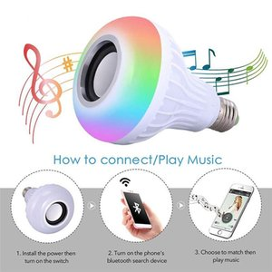 Smart 12W LED Bulb RGB Light Wireless Bluetooth Audio Speaker Music Playing Dimmable Lamp with 24 Key Remote Control