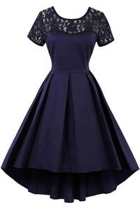 Elegant Scoop Sheer Lace Neckline and Short Sleeve A-line Pleats High Low Skirt Navy Blue Homecoming Dress Short Prom Gown Night Club Dress
