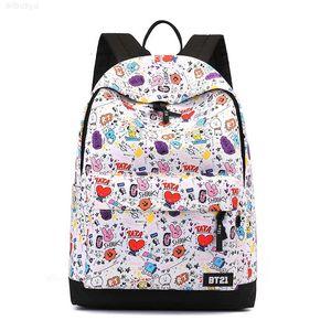 الأزياء الكرتون تنوعا أكسفورد المطبوعة حقيبة مدرسية السفر طالب في الهواء الطلق حقيبة الظهر bts الأزياء