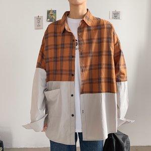 2021 Brand Primavera Autunno Maniche lunghe Nuovo collo di patchwork Camicia in stile Corea Black per vestiti da uomo XCXP