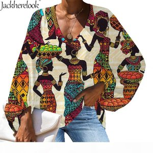Jackherelook Spring Summer Chiffon Loose Top Shirt Africa Black Girls Design V-neck Sexy Blouse Fashion Female Clothing