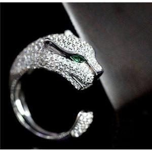 Männer 925 Sterling Silber Leopard Tier Finger Gepflasterte Zirkon Panther Grüne Augen Offene Ring Frauen Party Feine Hochzeit Y1128