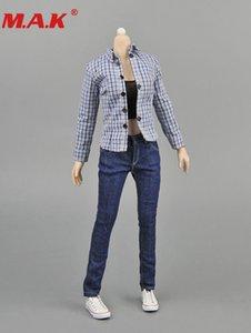 1: 6 Frauen Blue Plaid Shirtjeansvestiden Denim Kleidung Sets Weibliche Kleideranzug für 12 '' Dame Mädchen Action Figure Body 201013