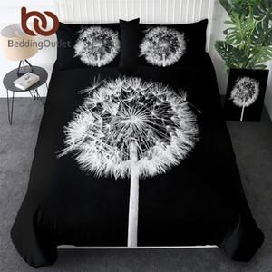 BeddingOutlet Dandelion Bedding Set Queen Flower Duvet Cover 3D Print Bedlinen Black and White Photography Bedclothes Drop Ship