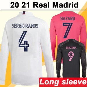 20 21 Real Madrid Hazard Madric Long Sleeves رجل كرة قدم Sergio Ramos Benzema Isco Kroos Mariano Home Thouse 3