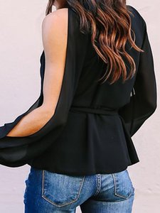 2019 New design ultra-fashion solid color casual ladies T-shirt hollow strapless sexy T-shirt large size breathable comfortable T-shirt 9128