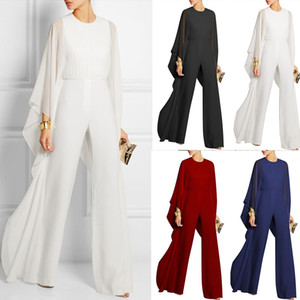 Spring Summer Women Ladies Jumpsuit Large Size High Waist Woven Pants Batwing Sleeve Loose Elegant Solid Office Rompers