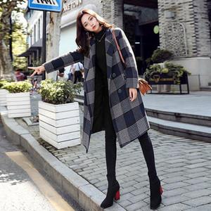 Nuevo abrigo de lana de tela escocesa de estilo inglés Mujeres otoño e invierno 2019 Cuello de desvío de moda suelta Lana de tela escocesa Lanas Outerwear1