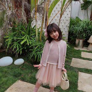 New Spring autunno neonate maglione dei vestiti di colore rosa a maniche lunghe maglione per bambini sveglia con il vestito 2 pc / insieme neonate Outfits