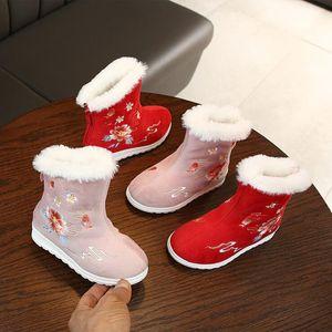 Winter-Baby-Kinder Schnee plus Samt Warm Mädchen Baumwolle bestickt Schuhe Traditionelle Chinesische Stiefel