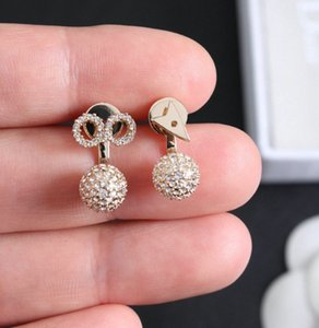 Fashion gold hoop stud earrings for lady Women Party Wedding Lovers gift engagement Jewelry for Bride with box