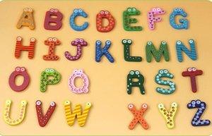 الكرتون خشبي 26 خطابات إنجليزية ثلاجة عصا منتجات التعليم المبكر الألوان لطيف abcd إلكتروني ثلاجة ديكور المغناطيس البدلة