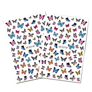 1 Sheet Butterfly Nail Art Sticker Adhesive Slider Gradient Color Nail Transfer Decal Decoration Flower DIY Design