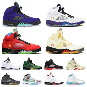 2020 New Jumpman 5 5s Basketball Shoes Mens Womens White off Fire Red Muslin SatinJordanRetro Alternate Bel Sneakers Trainers