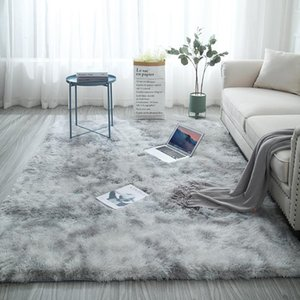 Gradient color living room carpet European long hair fashion bedroom mat bay window bedside blanket washable personality rug