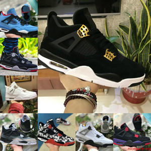 High Quality 2019 Bred 4s Shoes Cheap 4 Mens Black Retroes Laser Black Gum Thunder Royalty Tattoo Hot Lava White Cement Sneakers