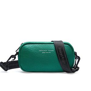 Designer lychee pattern small square bag ladies wide shoulder strap Korean casual camera bag leather shoulder diagonal green bag 1186